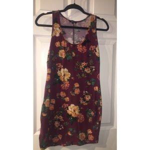 Purple Floral Bodycon Mini Dress